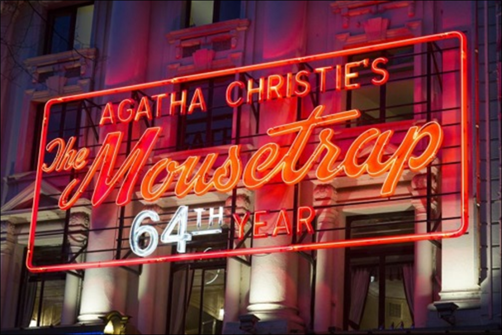"Marquee for Christie's Play ""The Mousetrap"""