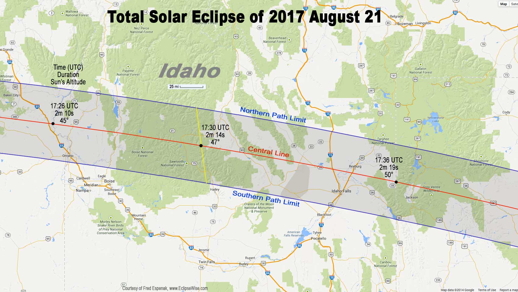 Path of the Eclipse Over Eastern Idaho