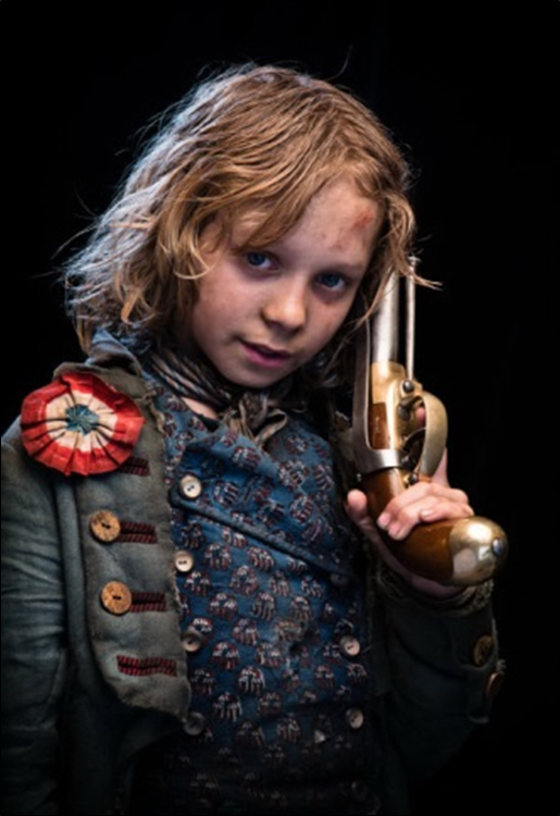 Young Gavroche from Les Miserables Wearing a Tricolor Cockade
