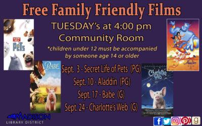 September Free Family Friendly Films